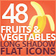 48 Flat Fruits And Vegetables Icons Set - GraphicRiver Item for Sale