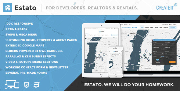 ThemeForest ESTATO Responsive Featured Real Estate HTML theme 10912023