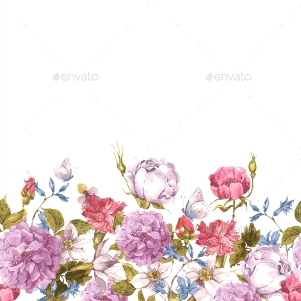 GraphicRiver Floral Seamless Watercolor Border with Roses 10941869
