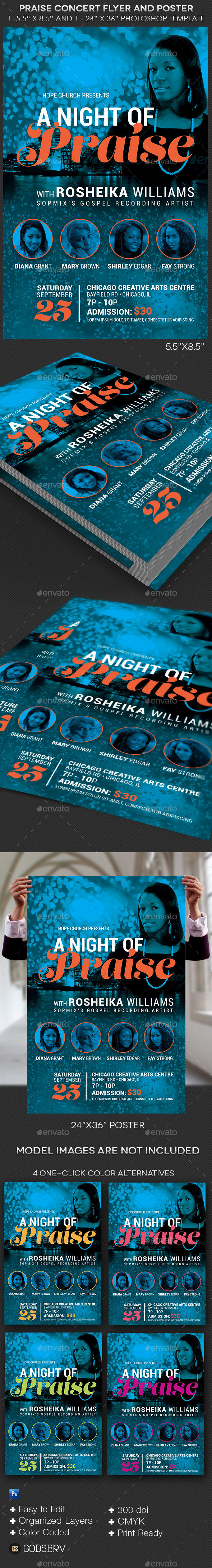 GraphicRiver Praise Concert Flyer and Poster Template 10892744