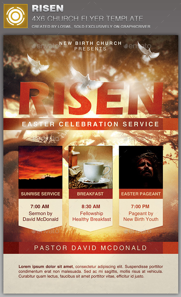 GraphicRiver Risen Church Flyer Template 10941978