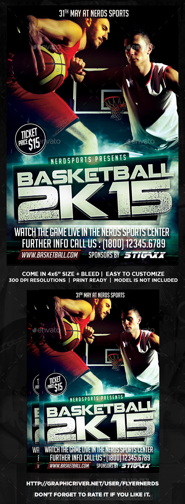 GraphicRiver Basketball 2K15 Sports Flyer 10943046