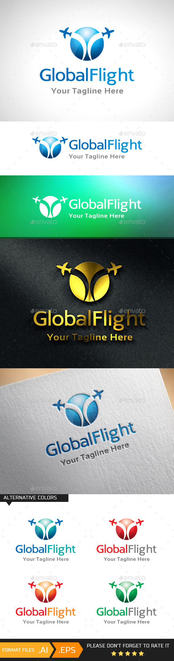 GraphicRiver Global Flight Logo Template 10943079