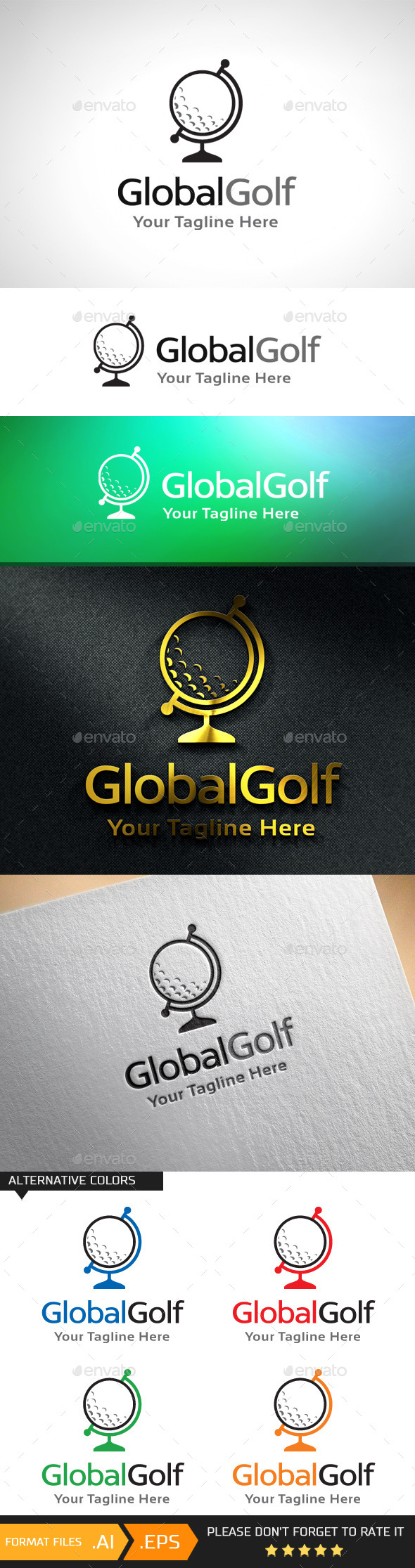 GraphicRiver Global Golf Logo Template 10943088