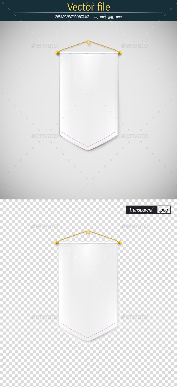 GraphicRiver White Pennant Hanging on the Wall 10943129