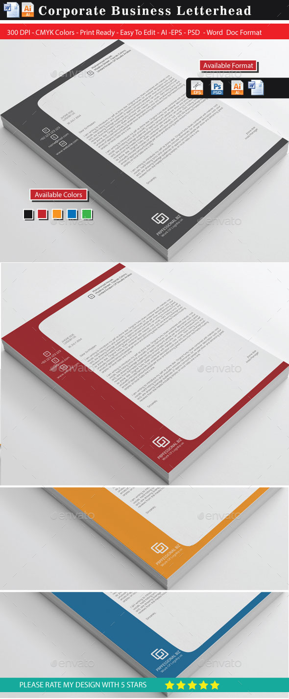 GraphicRiver Business Letterheads 10943427