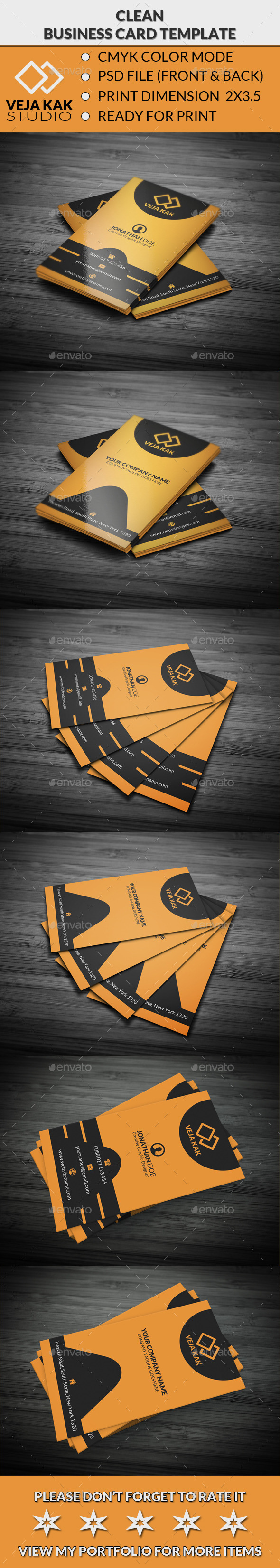 GraphicRiver Clean Corporate Business Card 10943447