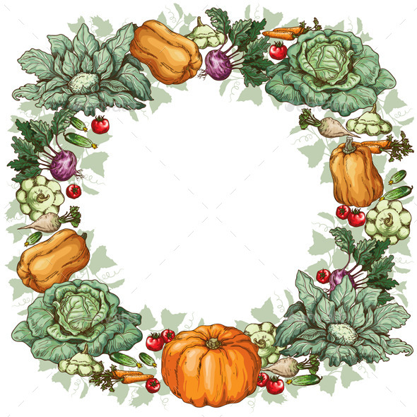 GraphicRiver Vegetable Round Frame 10945000