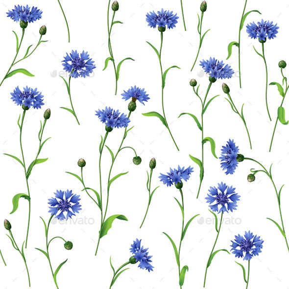 GraphicRiver Blue Cornflowers Pattern 10945038