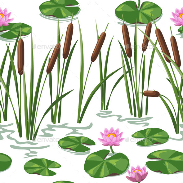 GraphicRiver Wetland Plants Pattern 10945070
