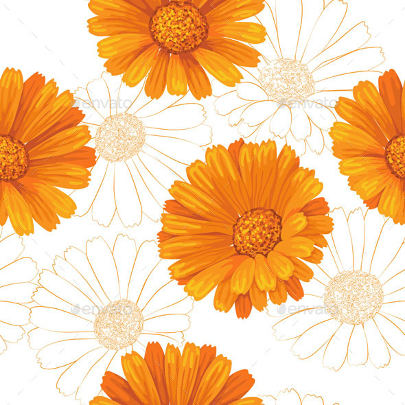 GraphicRiver Calendula Flowers Pattern 10945155