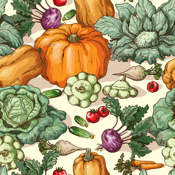 GraphicRiver Vegetables Pattern 10945219