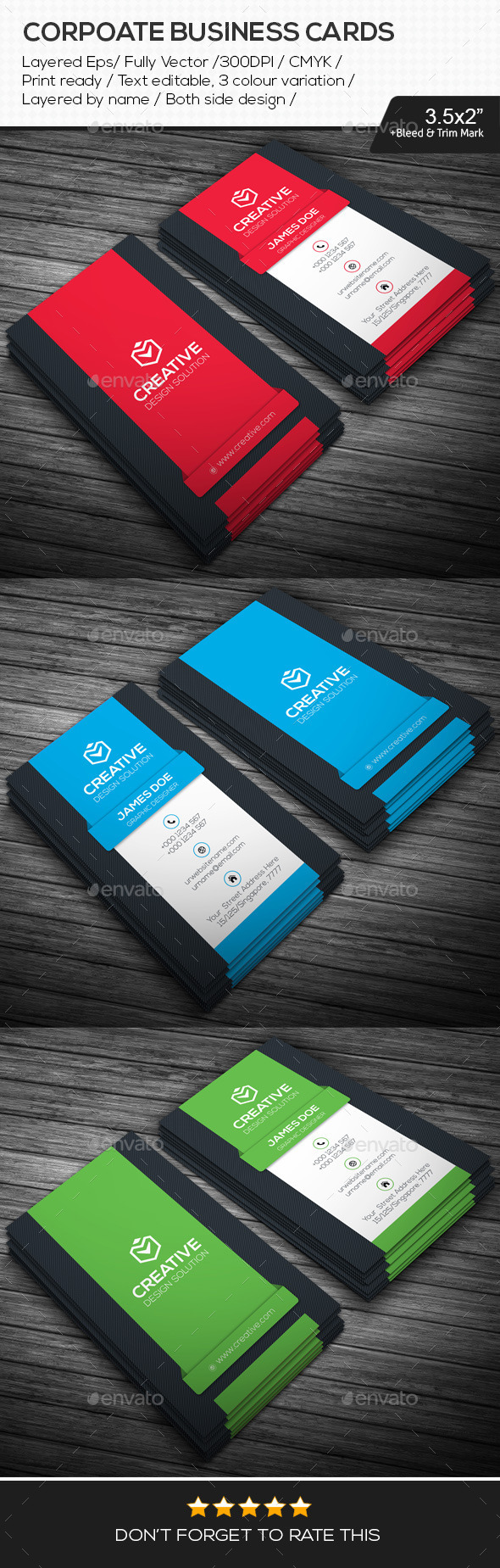 GraphicRiver Simple Corporate Business Cards 10945405