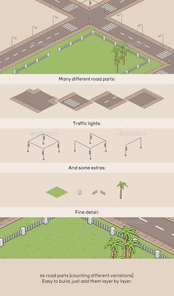 GraphicRiver Pixel Art Roads 10947150