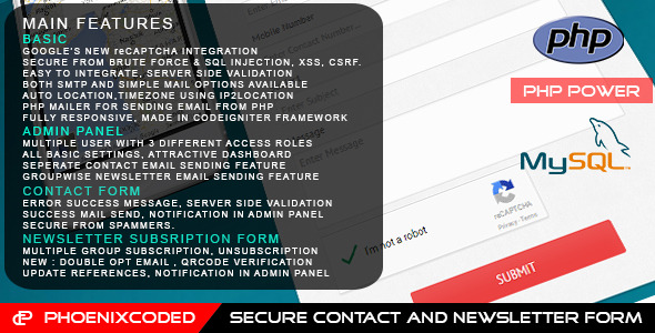 CodeCanyon PHP Secure Contact and Newsletter Form 10947195