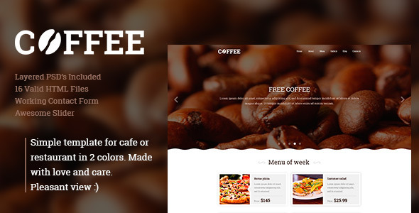 ThemeForest Coffee Responsive Restaurant Cafe Site Template 10947317