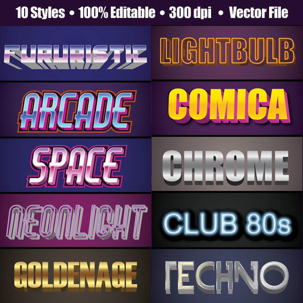 3D 80's Text GraphicStyle