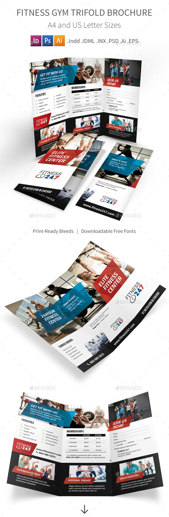GraphicRiver Fitness Gym Trifold Brochure 10947454