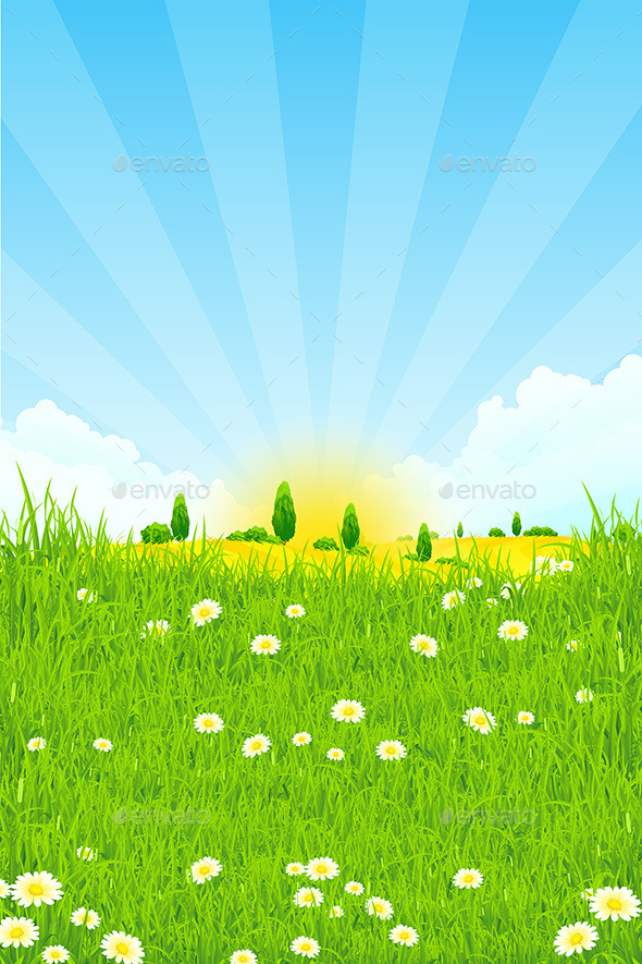 GraphicRiver Green Landscape with Trees 10947475