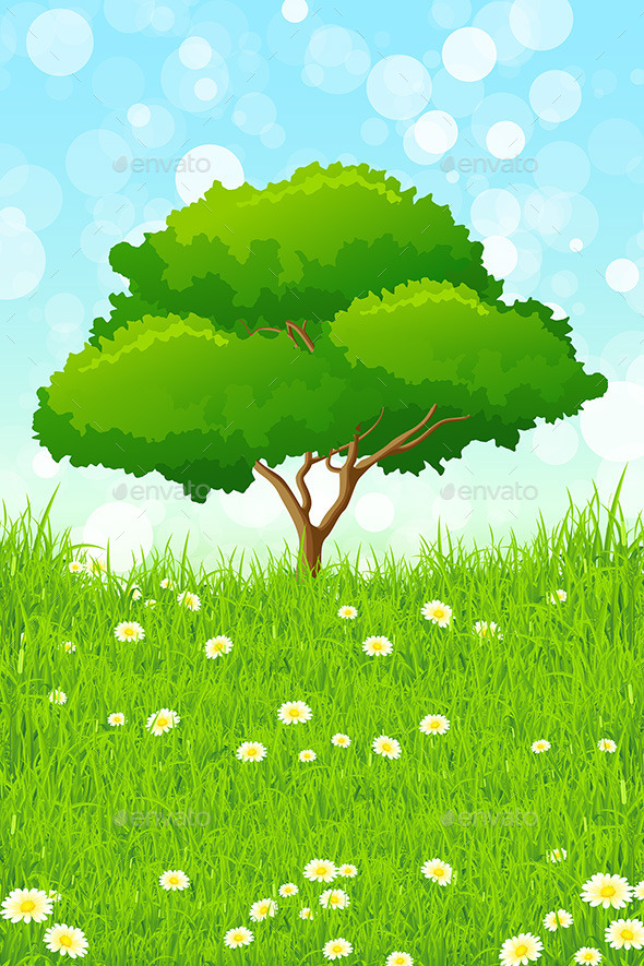 GraphicRiver Green Landscape with Tree 10947482