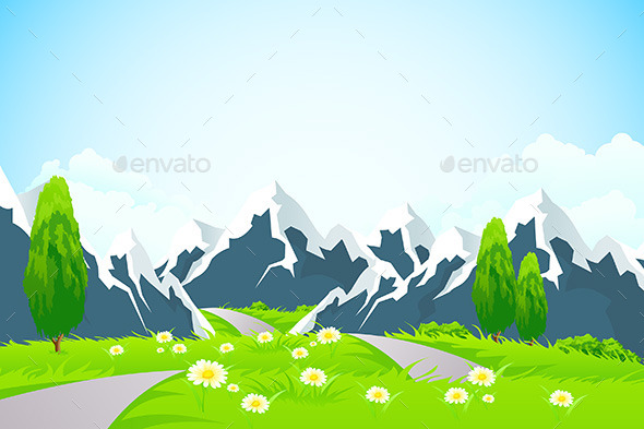 GraphicRiver Green Landscape with Mountains 10947483