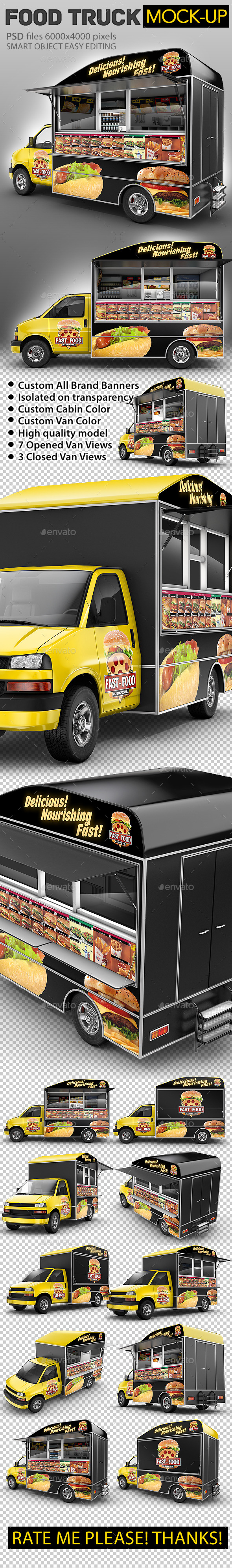 GraphicRiver Food Truck Mock-Up Van eatery mockup 10947550