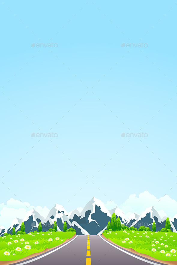 GraphicRiver Green Landscape with Road and Mountains 10947558