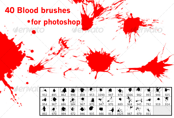 GraphicRiver 40 blood brushes 45022
