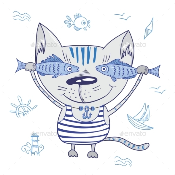 GraphicRiver Funny Vector Cat with Fishes 10948804