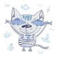 Funny Vector Cat with Fishes - GraphicRiver Item for Sale
