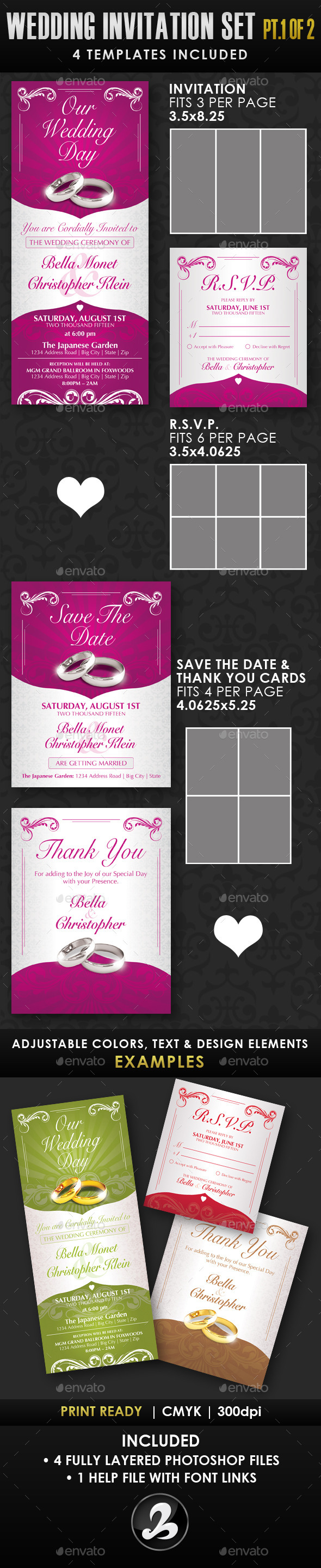 Wedding Invitation Template Set - Vol.1a