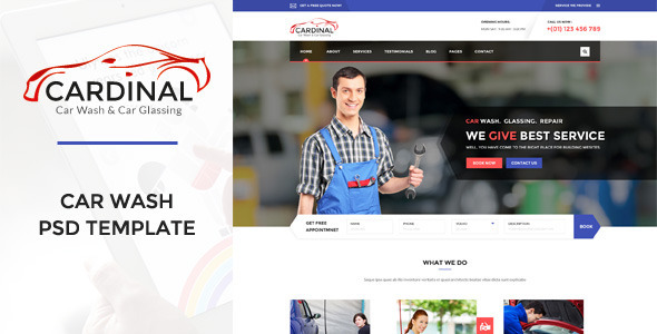 ThemeForest Cardinal Car Wash & Workshop PSD Template 10949061