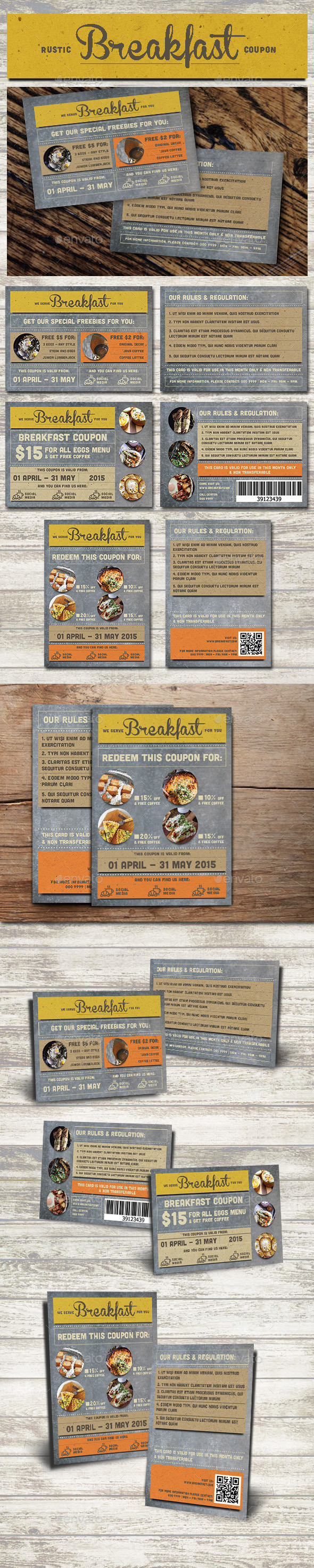 GraphicRiver Rustic Breakfast Coupon Card 10878318
