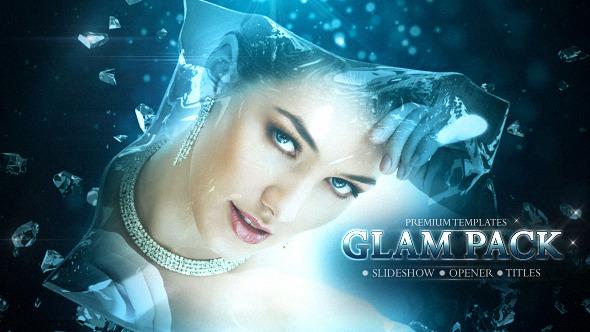 AE模板:三维高雅水晶钻石玻璃logo展示 电影颁奖 提名奖项预告片 婚礼视频模板Videohive Glam Pack