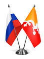Russia and Bhutan - Miniature Flags. - PhotoDune Item for Sale