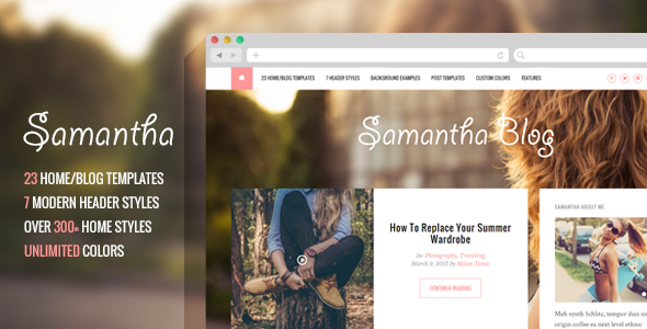 ThemeForest Samantha A Responsive WordPress Blog Theme 10722509
