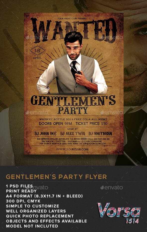 GraphicRiver Gentlemen s Party Flyer 10949517