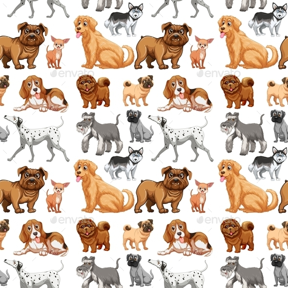 GraphicRiver Seamless Dogs 10950103