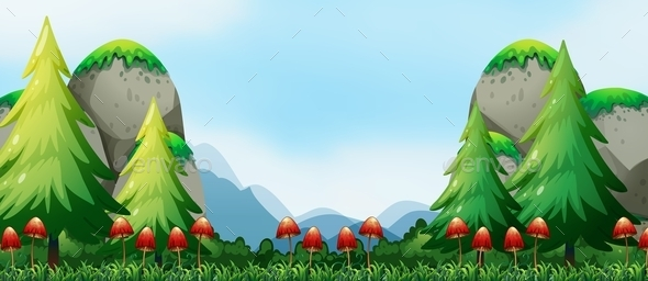 GraphicRiver Mushroom and Field 10950122