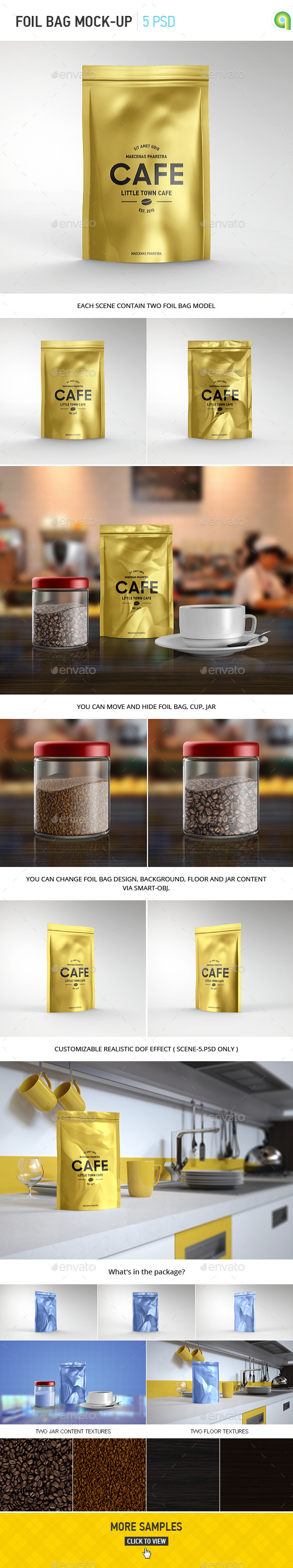 GraphicRiver Foil Bag Pack Mockup 10950568