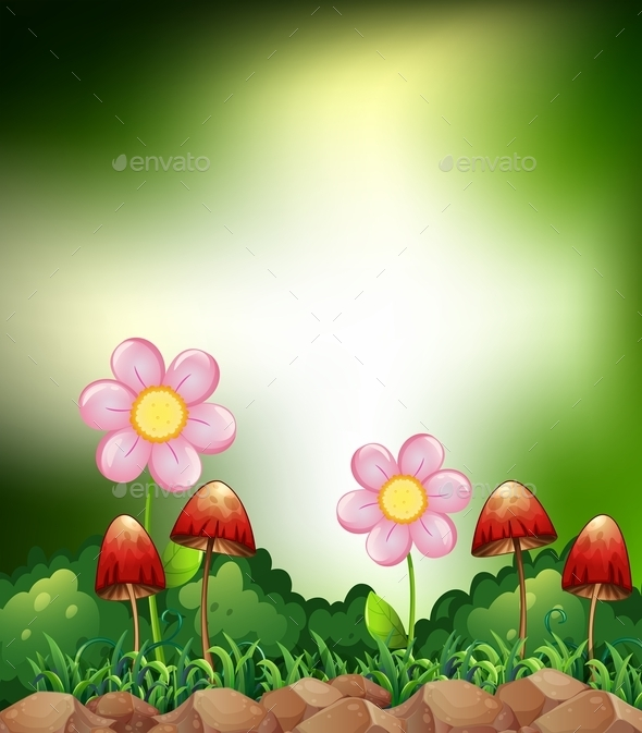 GraphicRiver Mushroom and Flowers 10950706