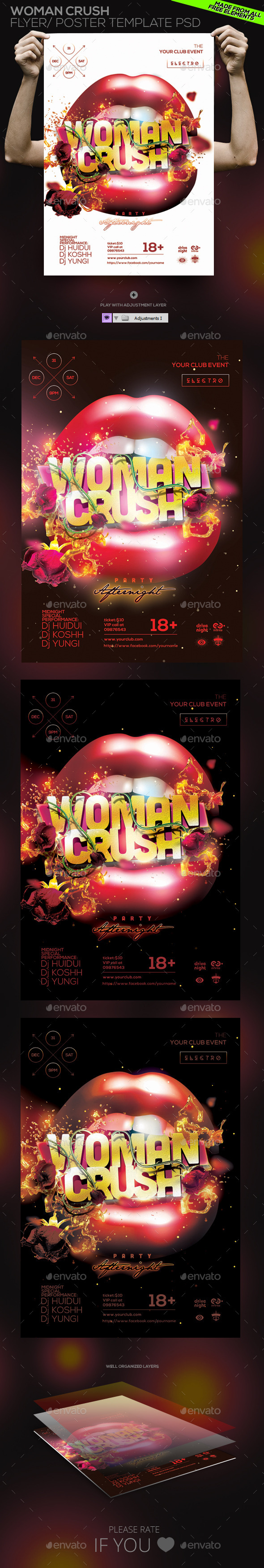 GraphicRiver Woman Crush Flyer Poster Template PSD 10950726