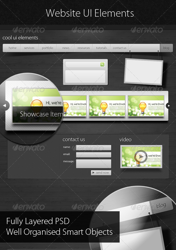 GraphicRiver Web UI Assets Web Elements Boxes & Buttons 132934