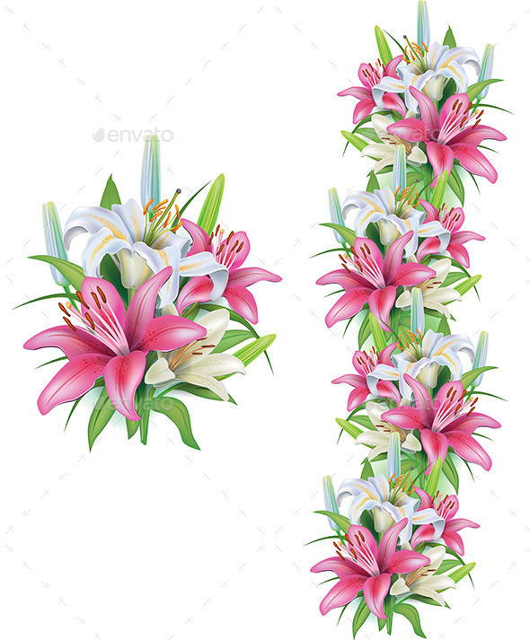 GraphicRiver Garlands of Lilies 10951348