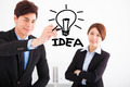 Businessman drawing bulb and idea business  concept - PhotoDune Item for Sale
