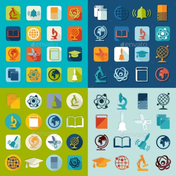 GraphicRiver Set of Education Flat Icons 10952471