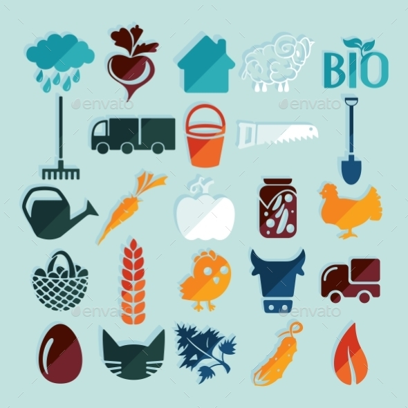 GraphicRiver Set of Agriculture Icons 10952708