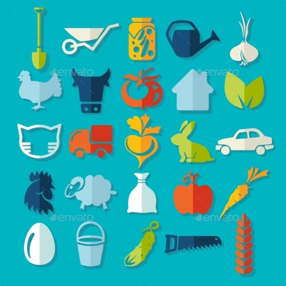 GraphicRiver Set of Agriculture Icons 10952710