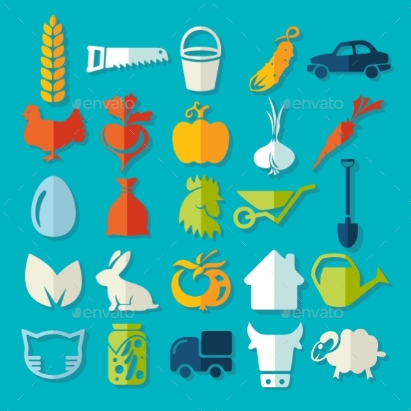GraphicRiver Set of Agriculture Icons 10952727