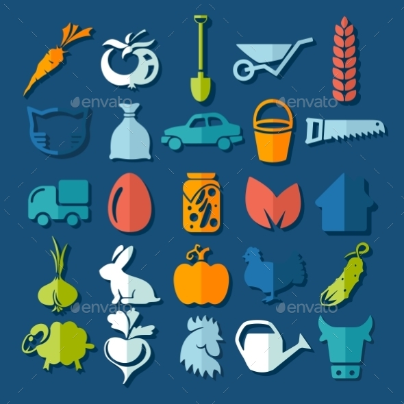 GraphicRiver Set of Agriculture Icons 10952746